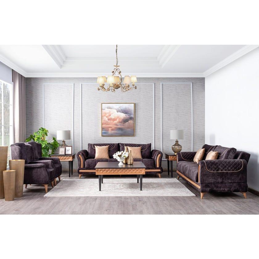 Vega Fabric Upholstered 8-seater Sofa Set - Dark Grey