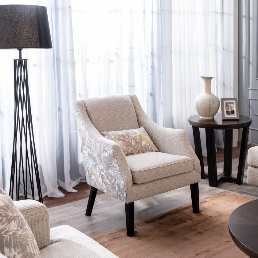 Bloom Fabric Upholstered Armchair - Beige
