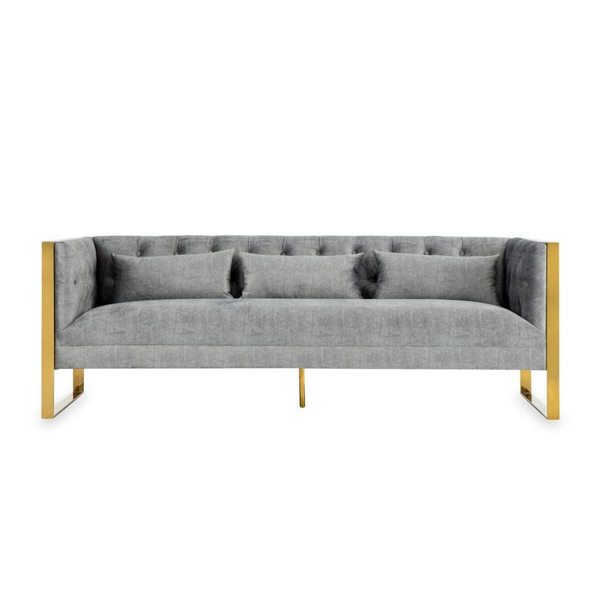 New Ethan Fabric Upholstered 3-seater Sofa - Grey
