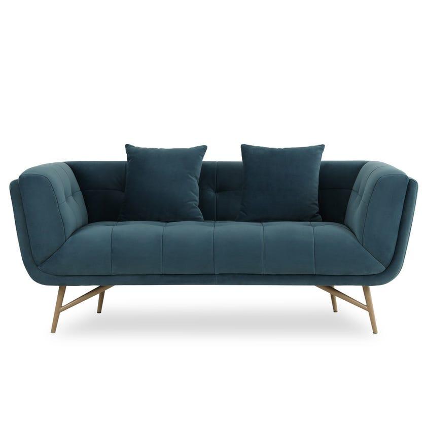 Sansa 2-Seater Velvet Upholstered Sofa, Blue