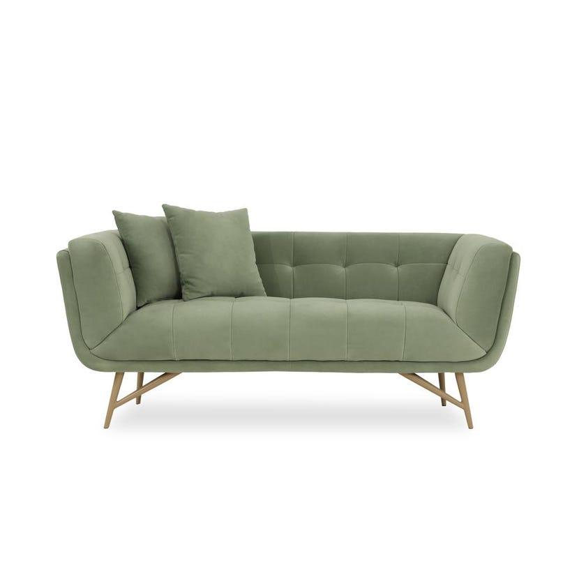 Stark 2-Seater Velvet Upholstered Sofa, Green
