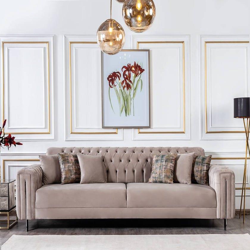 Floransa 4-Seater Fabric Upholstered Sofa, Beige