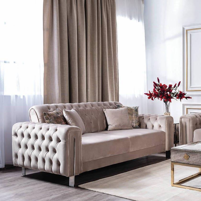 Floransa 3-Seater Fabric Upholstered Sofa, Beige