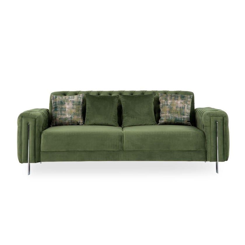 Floransa 3-Seater Fabric Upholstered Sofa, Green