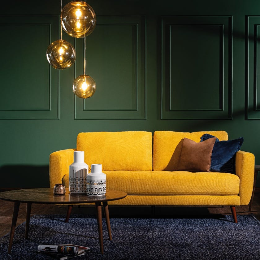 Liverpool 3-Seater Fabric Upholstered Sofa, Yellow