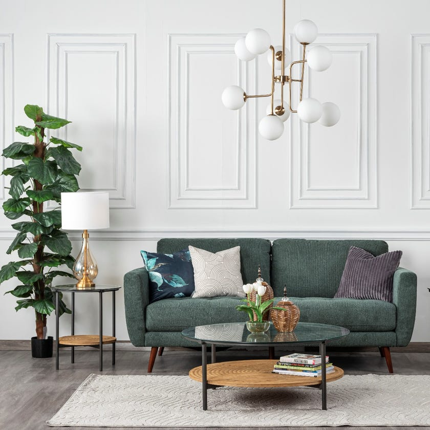 Liverpool 3-Seater Fabric Upholstered Sofa, Green