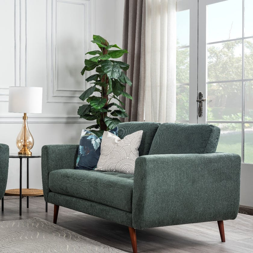 Liverpool 2-Seater Fabric Upholstered Sofa, Green