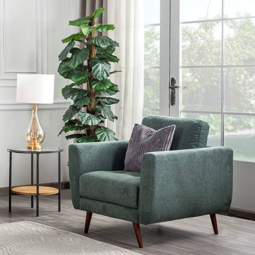 Liverpool Fabric Upholstered Armchair, Green