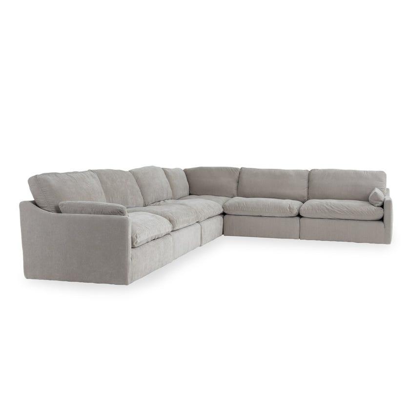 Melanie Fabric Upholstered 6-seater Corner Sofa - Grey