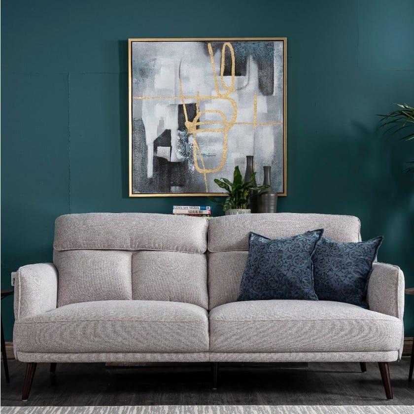 Calisto Fabric Upholstered 3-seater Sofa - Light Grey