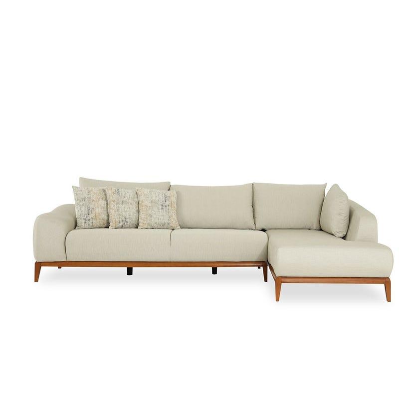 Natali Fabric Upholstered Right Hand Corner Sofa, Beige