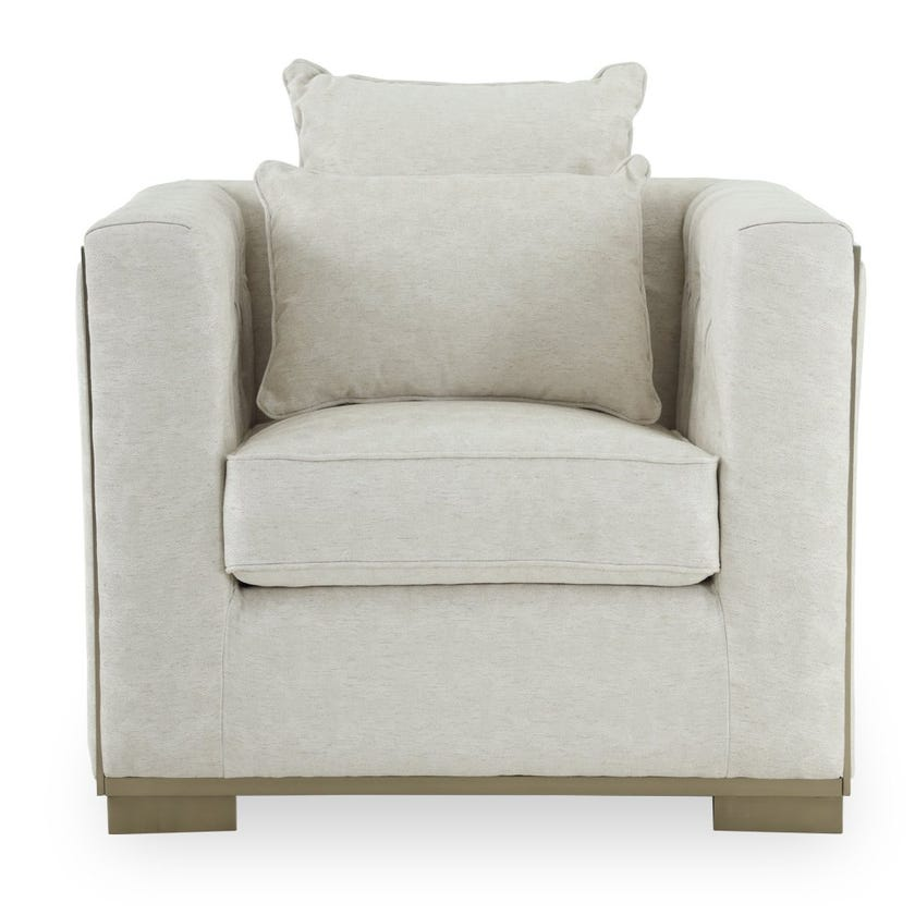 Oliver Fabric Upholstered Armchair - Cream