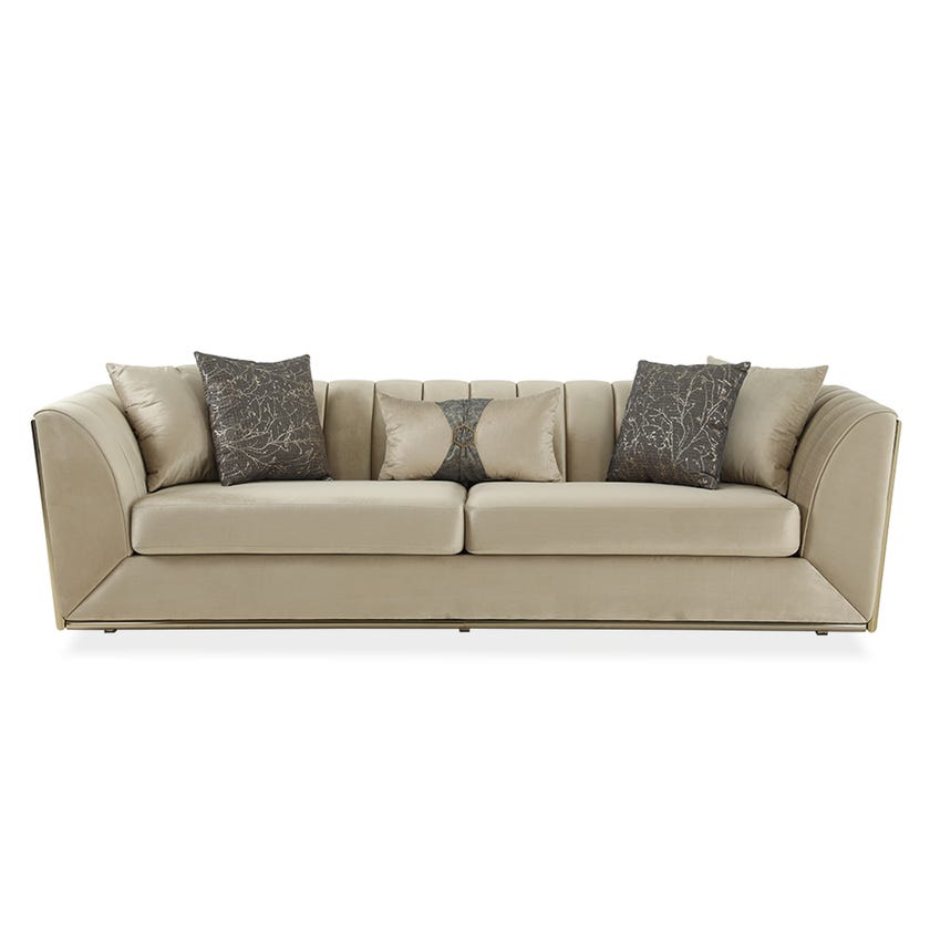 Kate Fabric Upholstered 3-seater Sofa - Beige