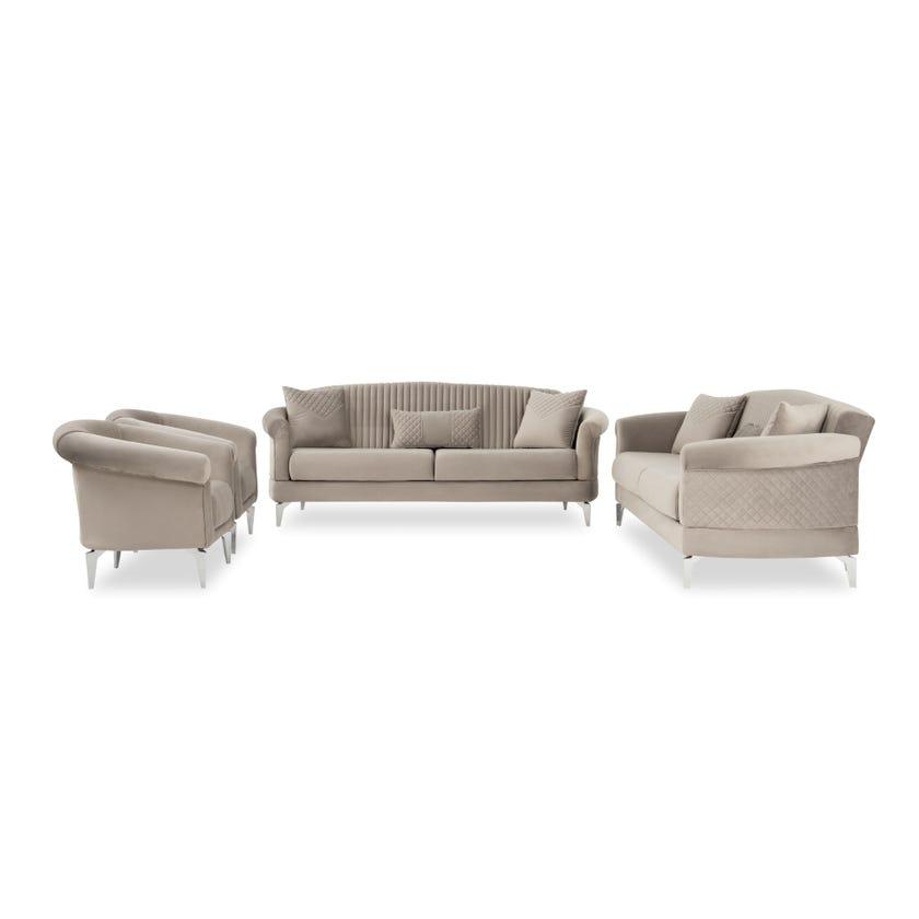 Verona Fabric Upholstered 8-seater Sofa Set - Grey