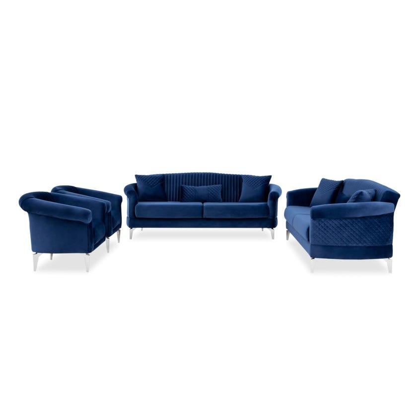 Verona Fabric Upholstered 8-seater Sofa Set - Blue