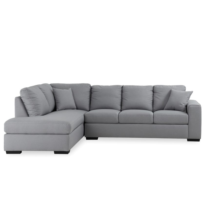 Tracy Four-Seater Left Arm Facing Open End Corner Sofa & Chaise (Fabric, Grey)