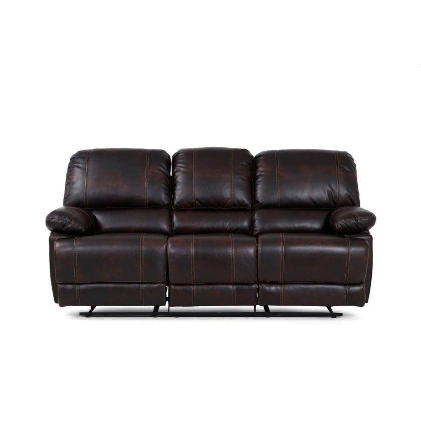 Glider Faux Leather Upholstered 3-seater Recliner Sofa - Brown