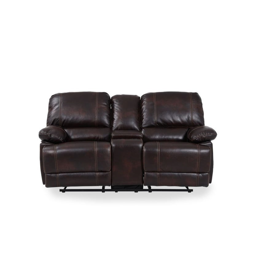 Glider Faux Leather Upholstered 2-seater Recliner Sofa - Brown