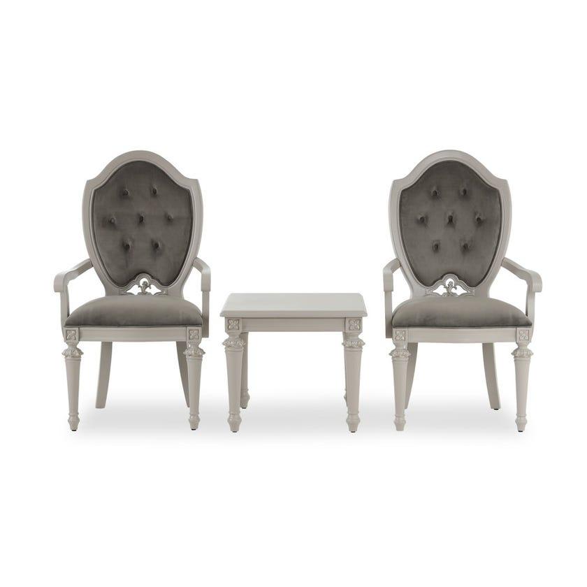 Zakiya Wooden Tea Set with 2 Microsuede Upholstered Chairs - Grey