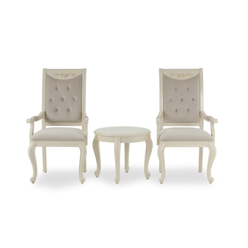 Salma Tea Set with 2 Microsuede Upholstered Chairs - Cream