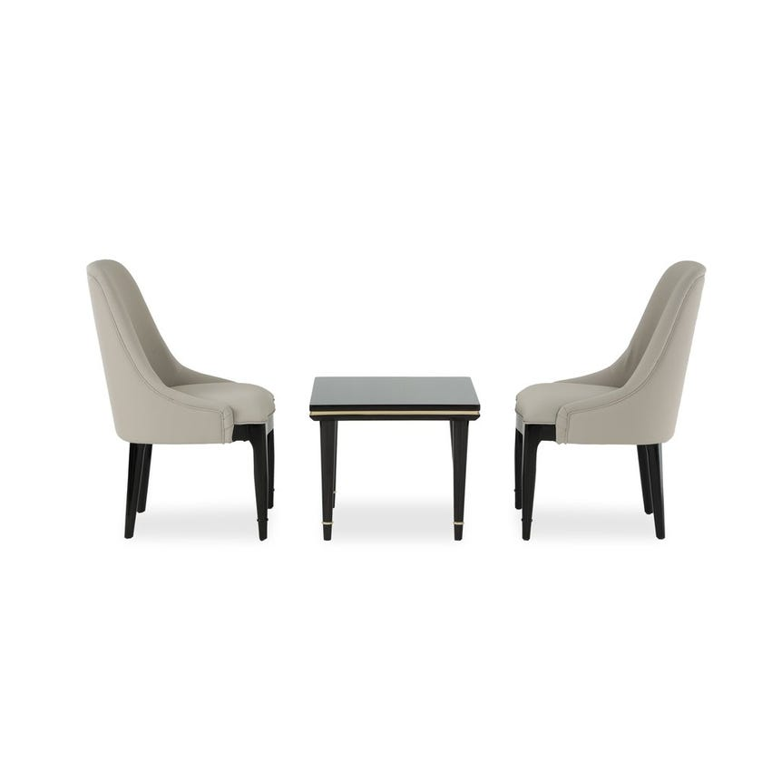 Linea Wooden Tea Set with 2 Microsuede Upholstered Chairs - Grey