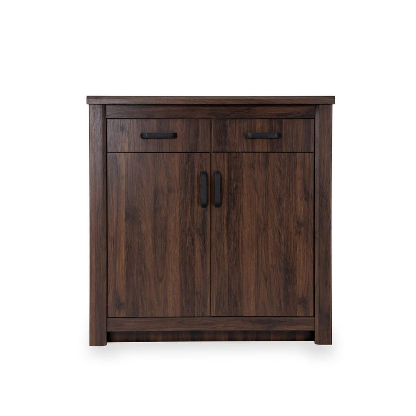 Braxton 2-Door Shoe Cabinet for 21 pairs, Antique Walnut