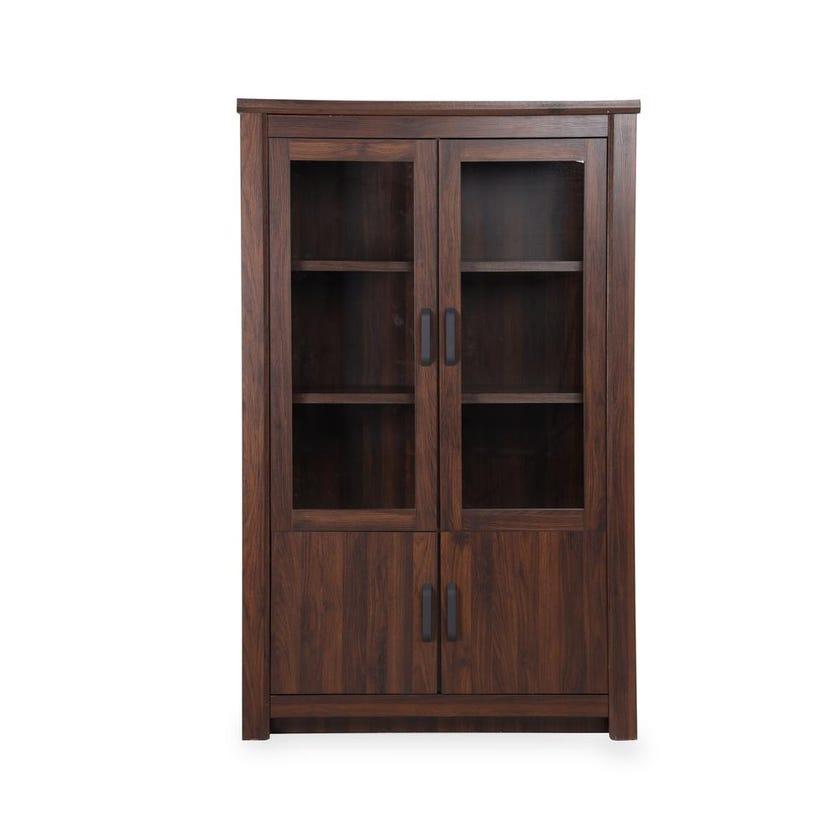 Braxton 2-Glass Door 2-Wooden Door Curio Cabinet, Antique Walnut