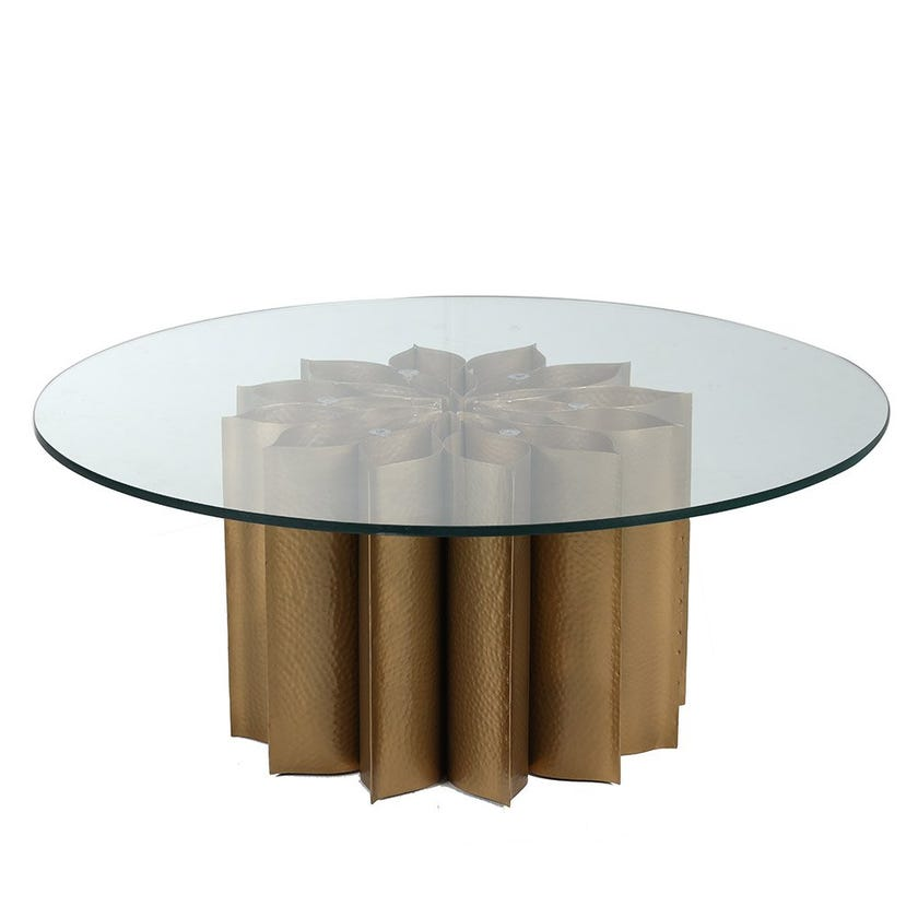 Lotus Coffee Table, Gold and Clear