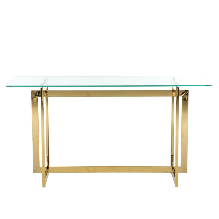 Dazzling Glass Console Table, Gold