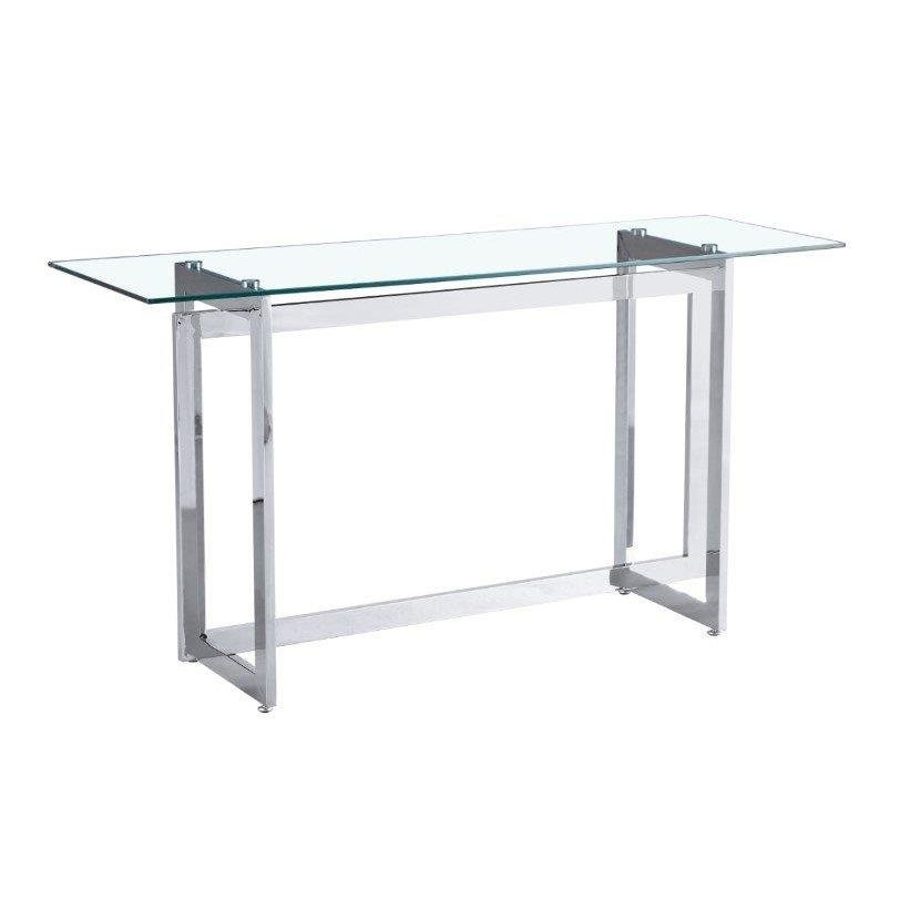 Dazzling Glass Console Table, Silver
