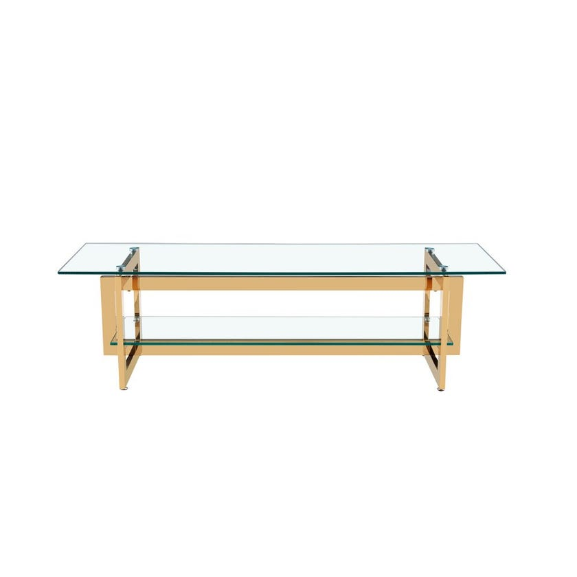 Dazzling Glass Entertainment Unit, Gold