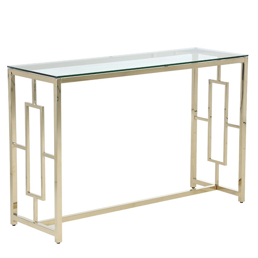 Alyssa Electroplated Metal Console Table (Clear Glass, Gold)