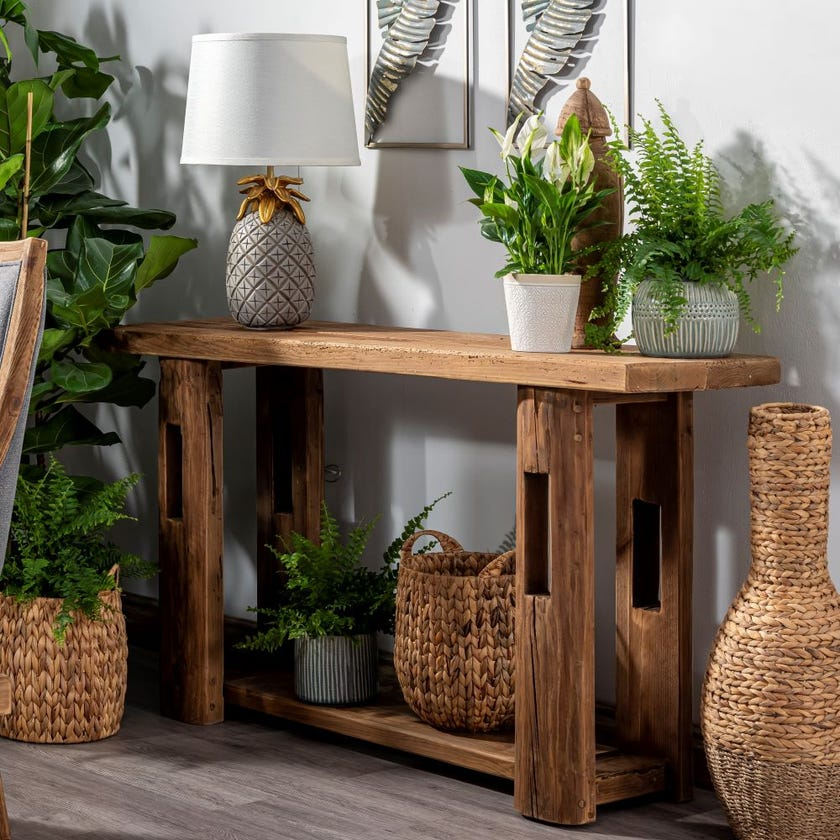 Rayyan Wooden Console Table, Natural