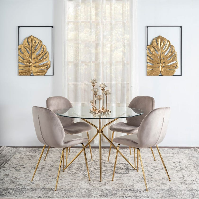 Toshika Glass 4-seater Dining Table, Gold