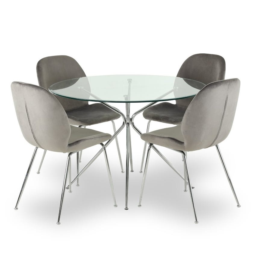 Toshika Glass 4-seater Dining Table, Silver