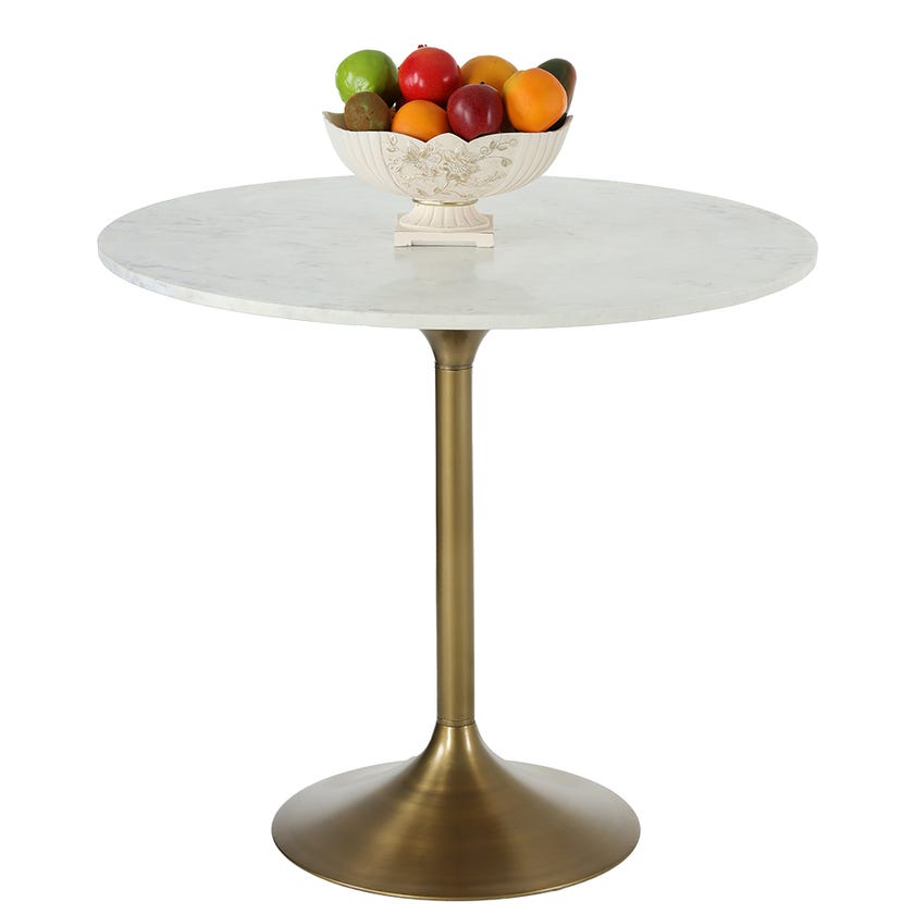 Vera Dining Table (White Marble, Brass)