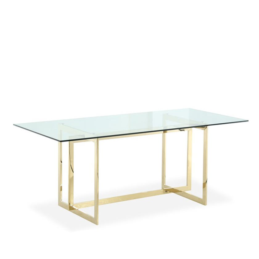 Dazzling Metal 8-seater Dining Table-Gold