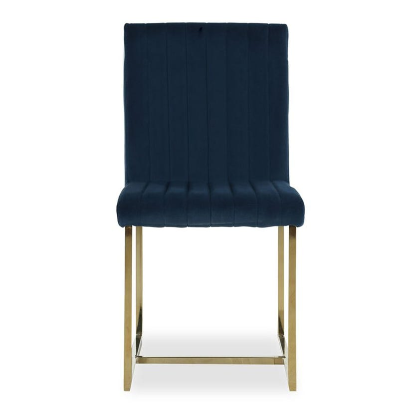 Dazzling Fabric Upholstered Metal Dining Chair, Blue and Gold