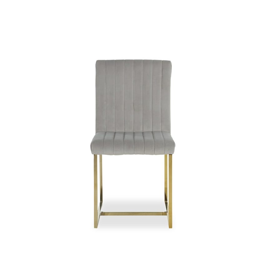 Dazzling Fabric Upholstered Metal Dining Chair - Grey and Gold