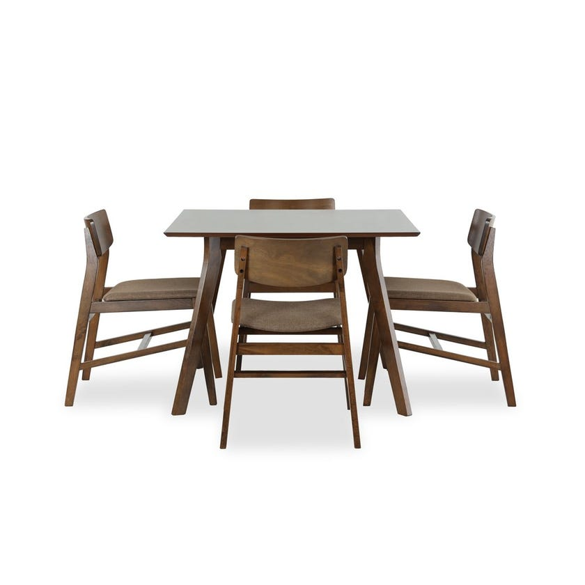 New Kris Veneer 4-seater Dining Set with 4 Fabric Upholstered Chairs
