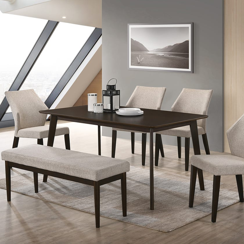 Arica Wooden 6-Deater Dining Set with Chairs