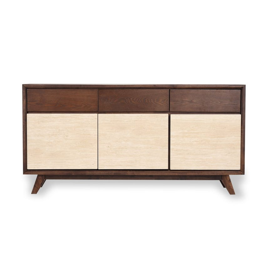 Zenith Faux Marble 3 - Door Sideboard with Drawers