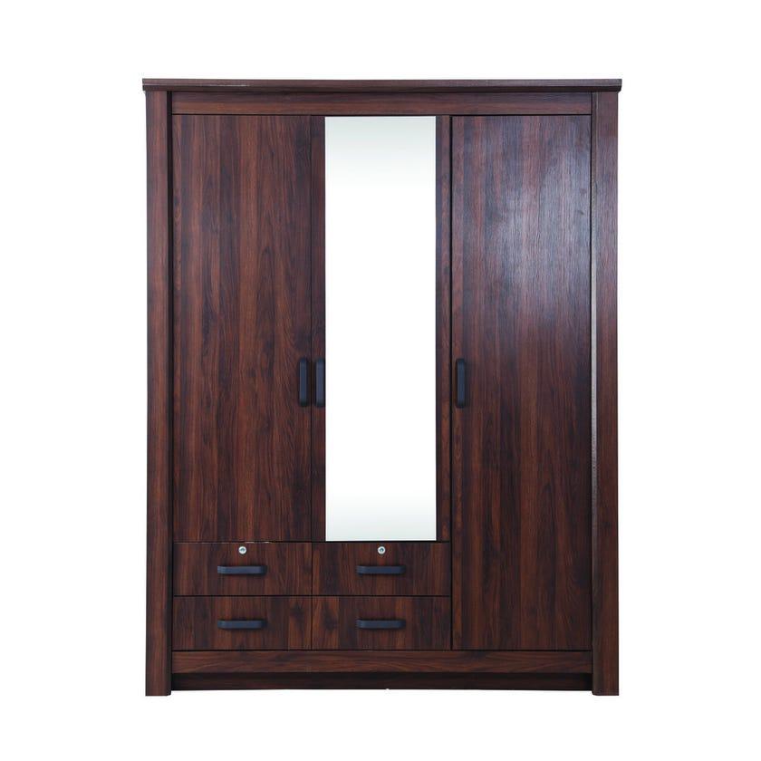 Braxton 3-Door Wardrobe with Mirror, Antique Walnut