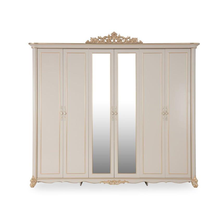 Farida Engineered Wood 6-door Wardrobe - Gold