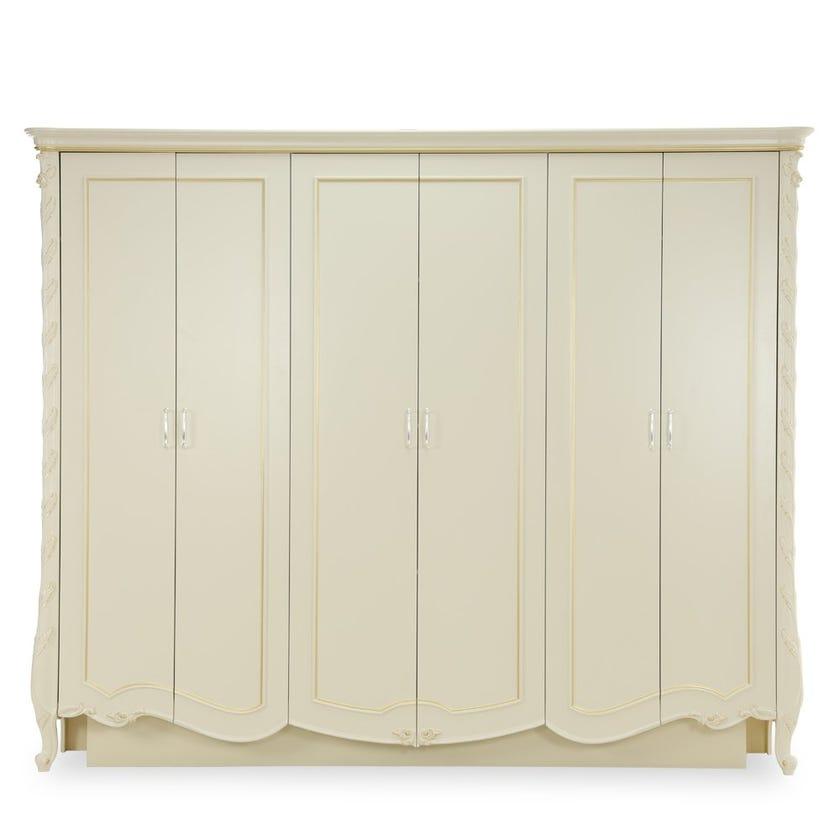 Salma Engineered Wood 6-door Wardrobe - Cream