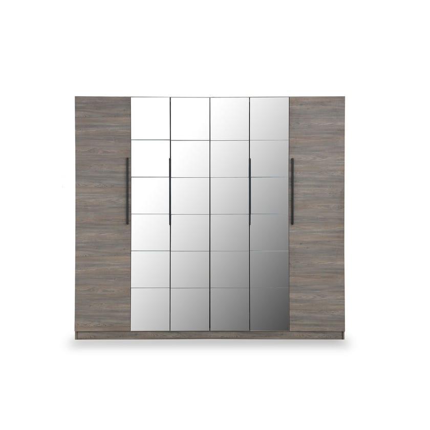 Napoli 6-door Wardrobe with Mirror - Walnut