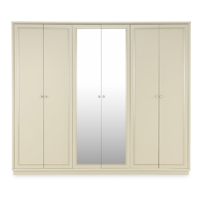 Everton 6-door Wardrobe - Pearl White