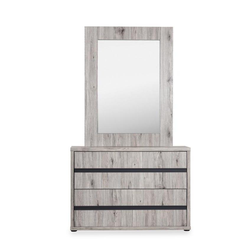 Evi  Wooden 2-drawer Dresser with Mirror - Rustic Oak