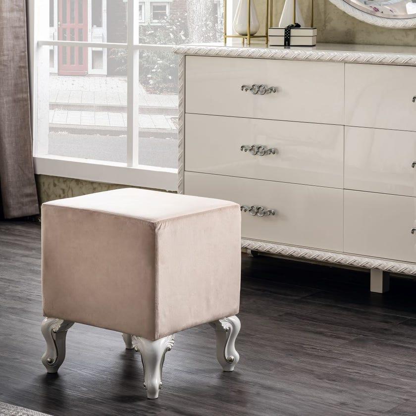 Carmen Fabric Upholstered Stool - Cream