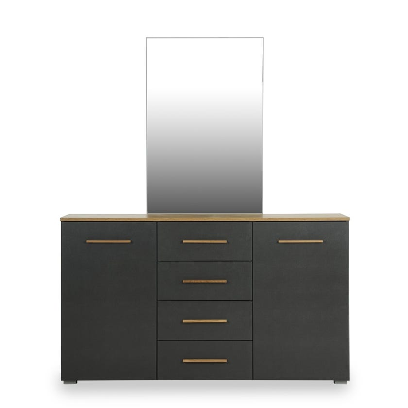 Josselin 4-drawer 2-door Dresser with Mirror - Walnut
